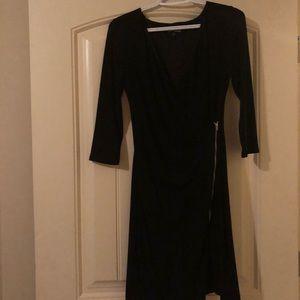 Express Black V-neck wrap front zip-up dress